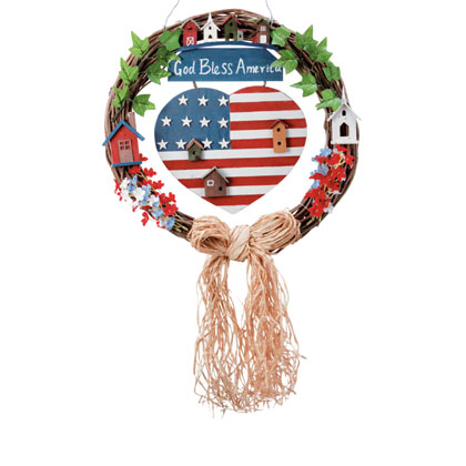 God Bless America Patriotic Wreath 32345 from WSO